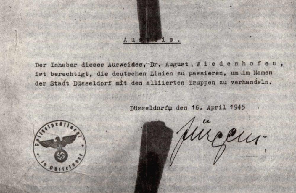 Vollmacht für Dr. August Wiedenhofen, von Franz Jürgens am 16. April 1945 unterschrieben